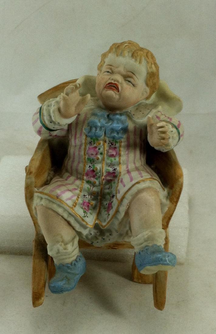 Vtg. Bisque Baby Boy in a Wheelbarrow Ardalt Lenwile