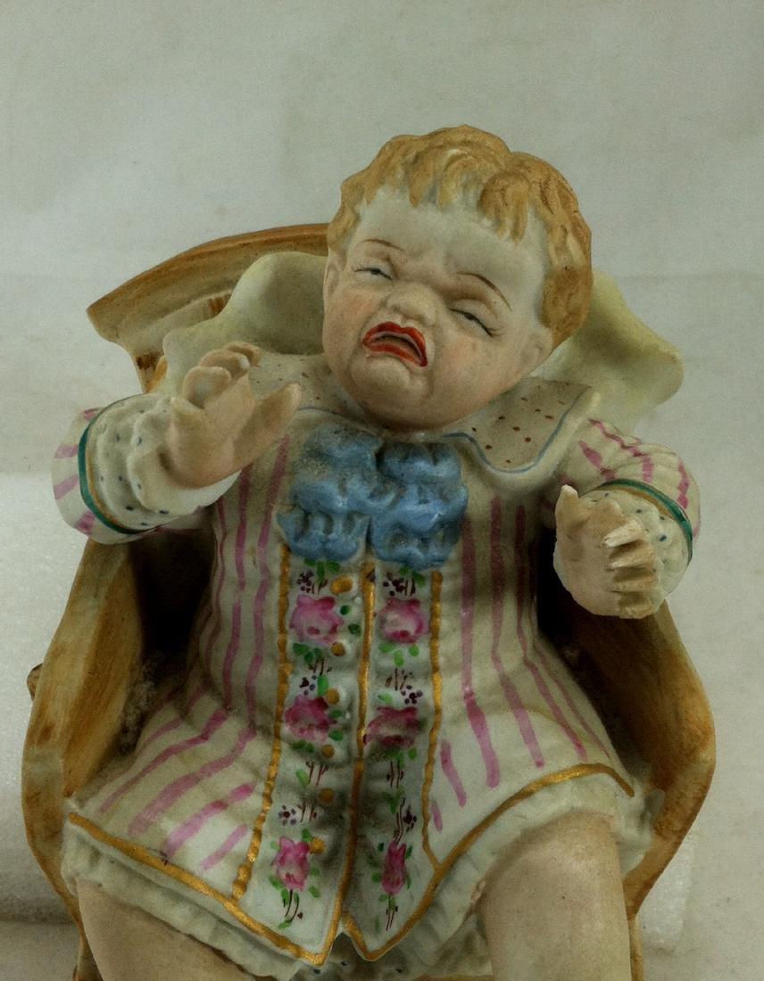 Vtg. Bisque Baby Boy in a Wheelbarrow Ardalt Lenwile - 2