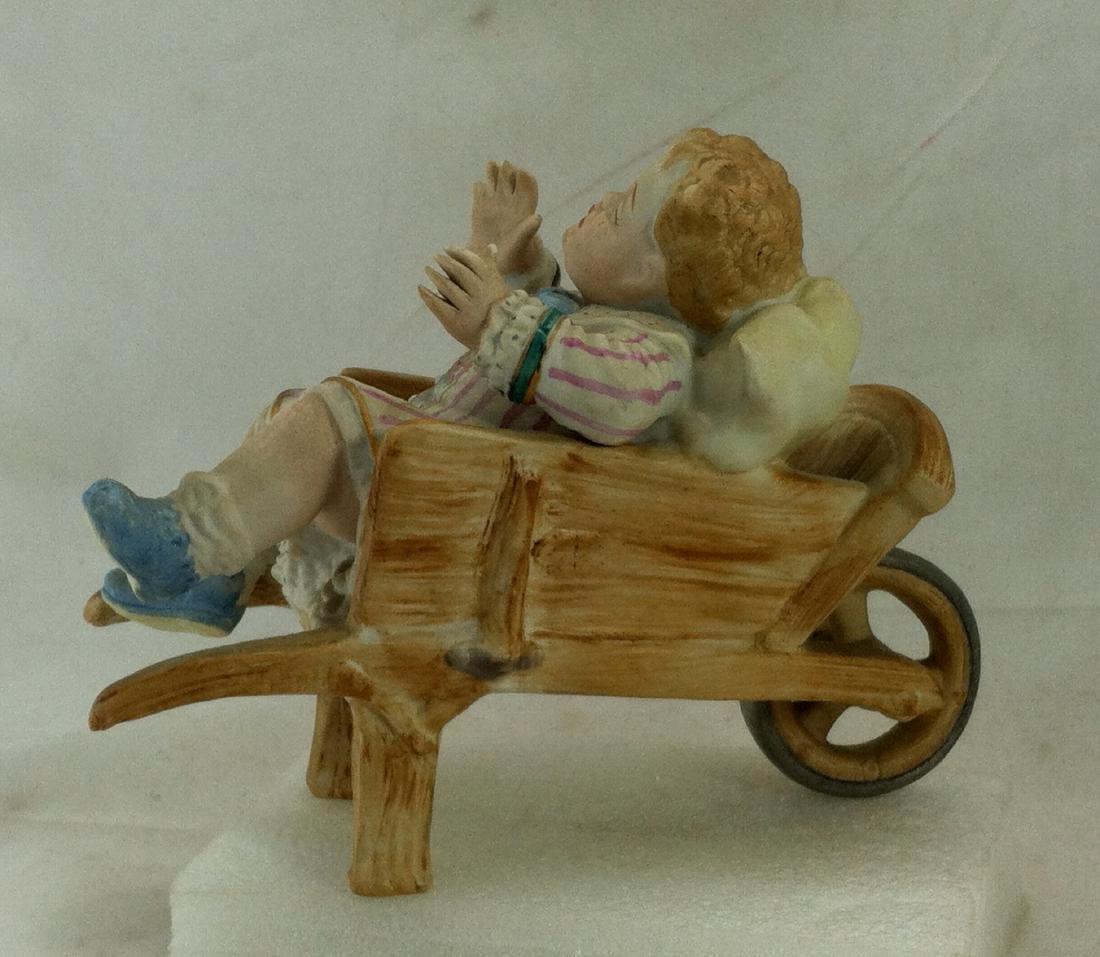 Vtg. Bisque Baby Boy in a Wheelbarrow Ardalt Lenwile - 3