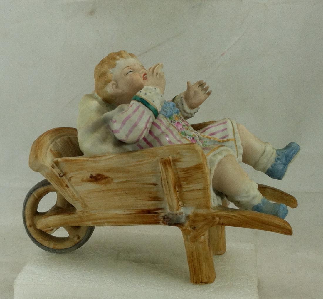 Vtg. Bisque Baby Boy in a Wheelbarrow Ardalt Lenwile - 4
