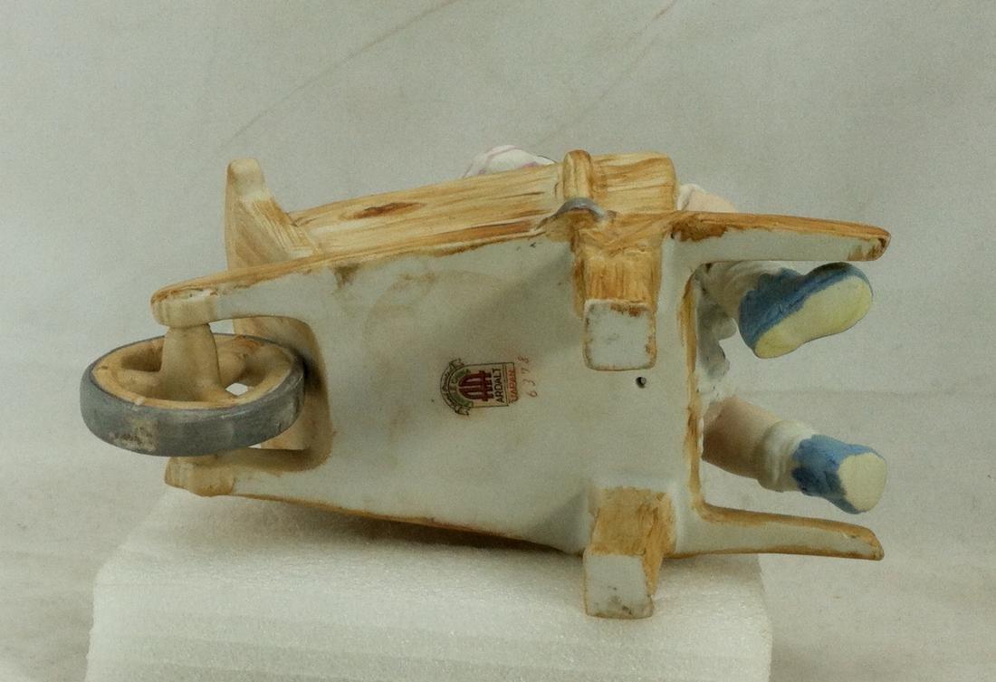 Vtg. Bisque Baby Boy in a Wheelbarrow Ardalt Lenwile - 5