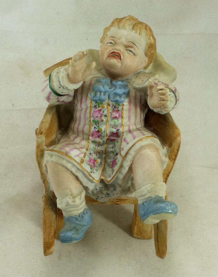 Vtg. Bisque Baby Boy in a Wheelbarrow Ardalt Lenwile - 7