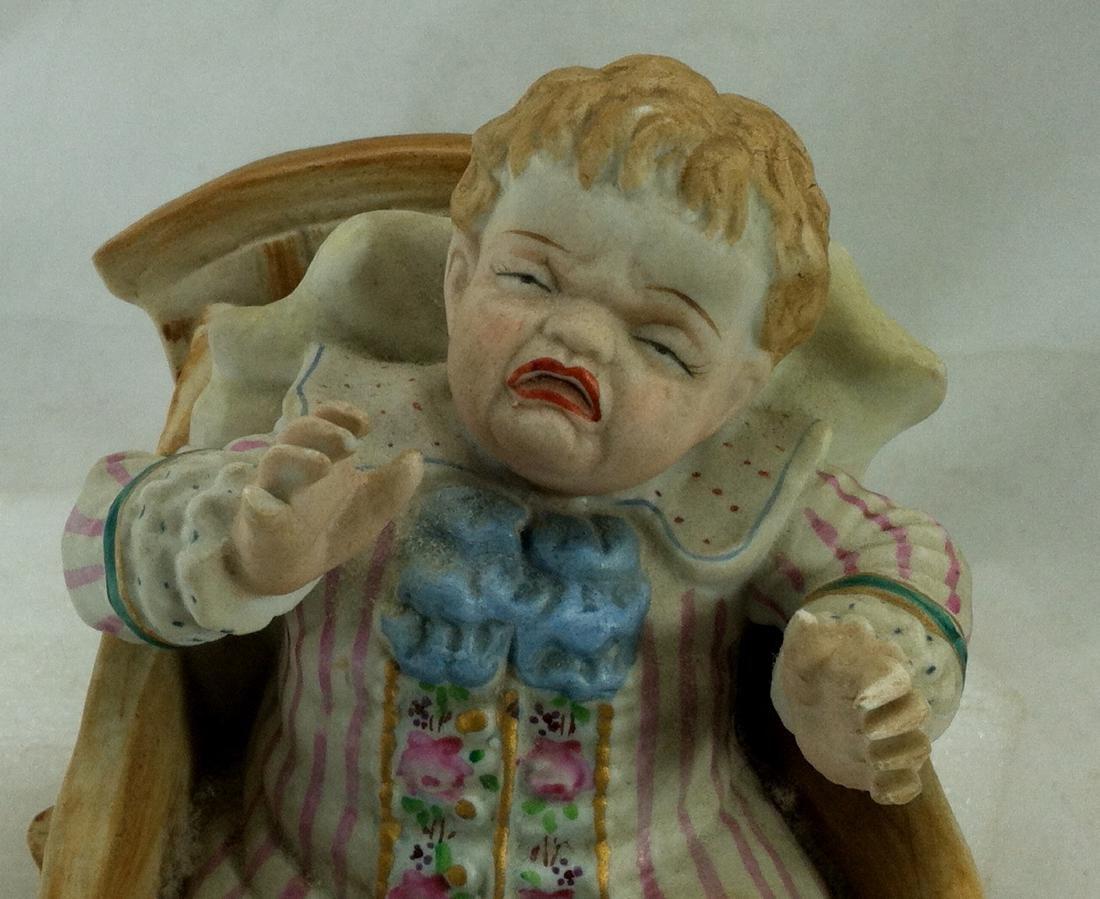 Vtg. Bisque Baby Boy in a Wheelbarrow Ardalt Lenwile - 8