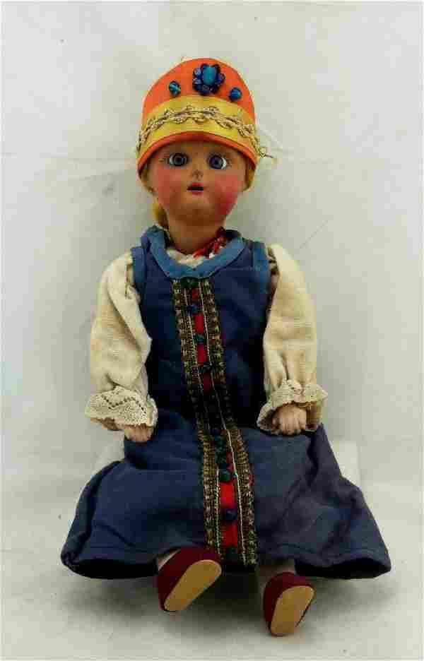 "Antique 12"" All Bisque Costume Doll"