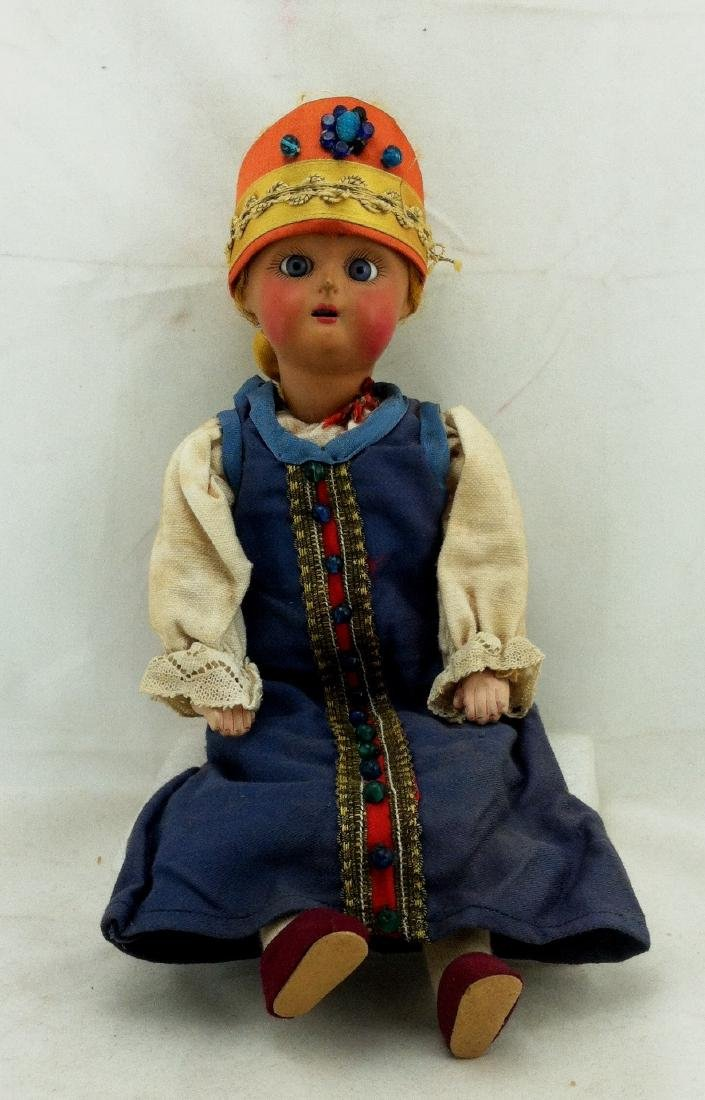 "Antique 12"" All Bisque Costume Doll"