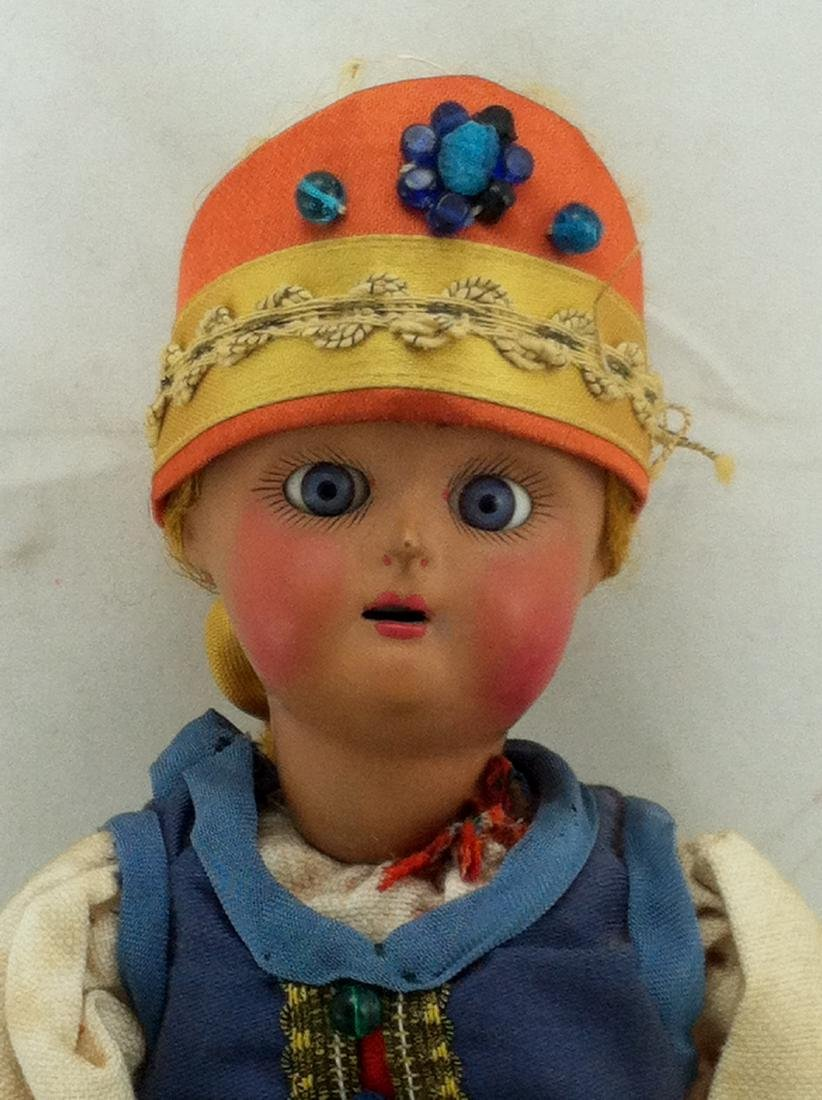 "Antique 12"" All Bisque Costume Doll - 2"