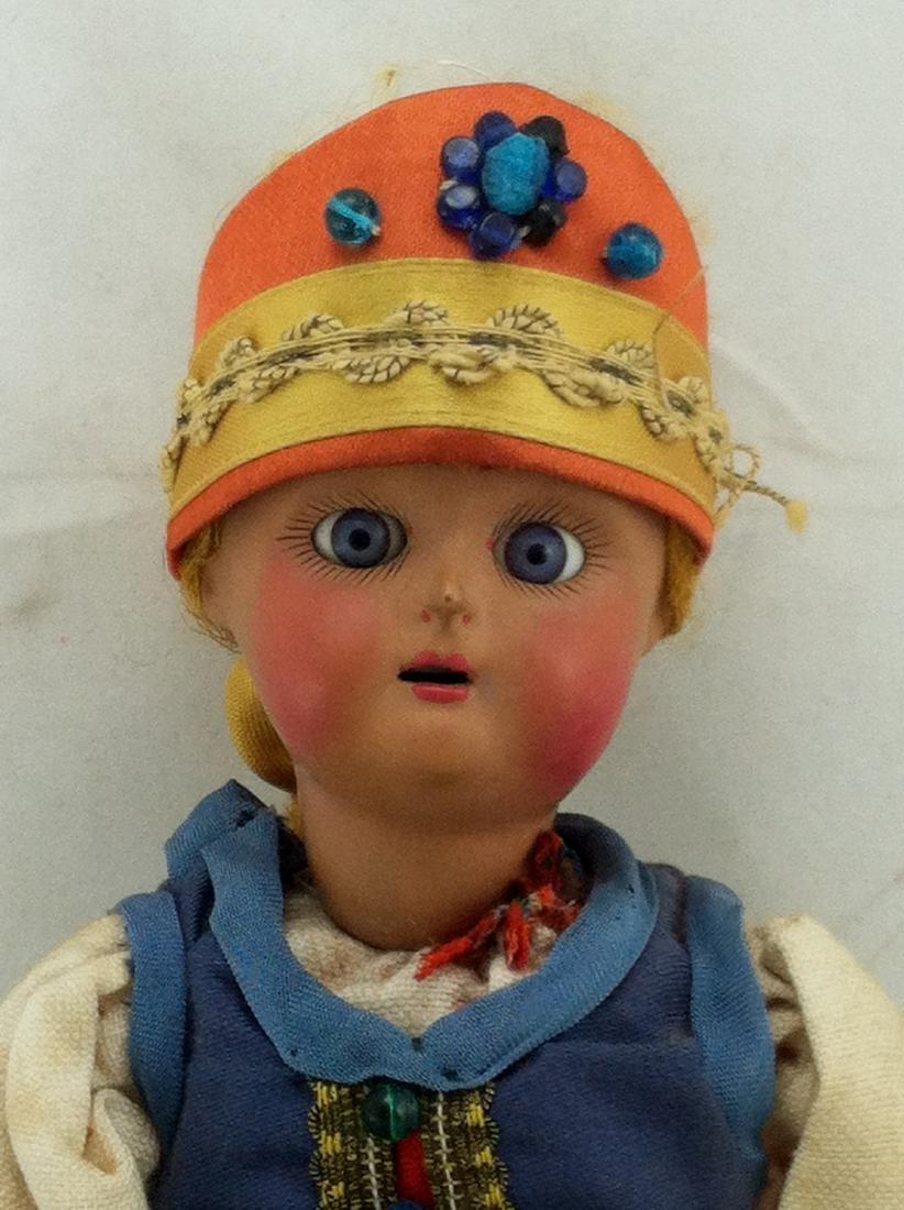 "Antique 12"" All Bisque Costume Doll - 2"