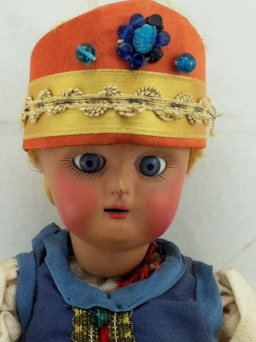 "Antique 12"" All Bisque Costume Doll - 6"