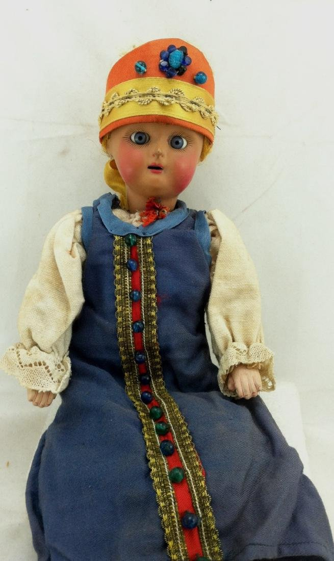 "Antique 12"" All Bisque Costume Doll - 8"
