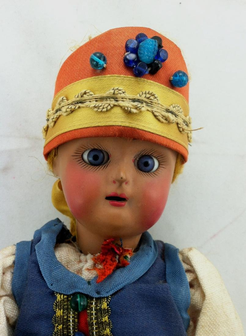 "Antique 12"" All Bisque Costume Doll - 9"