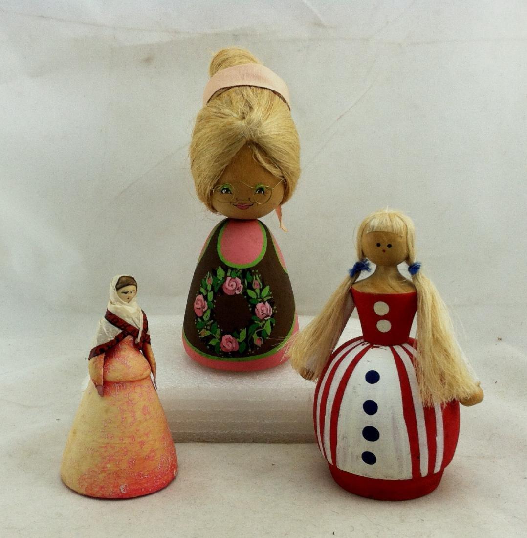 3pc. Lot of Vtg. Wood Dolls