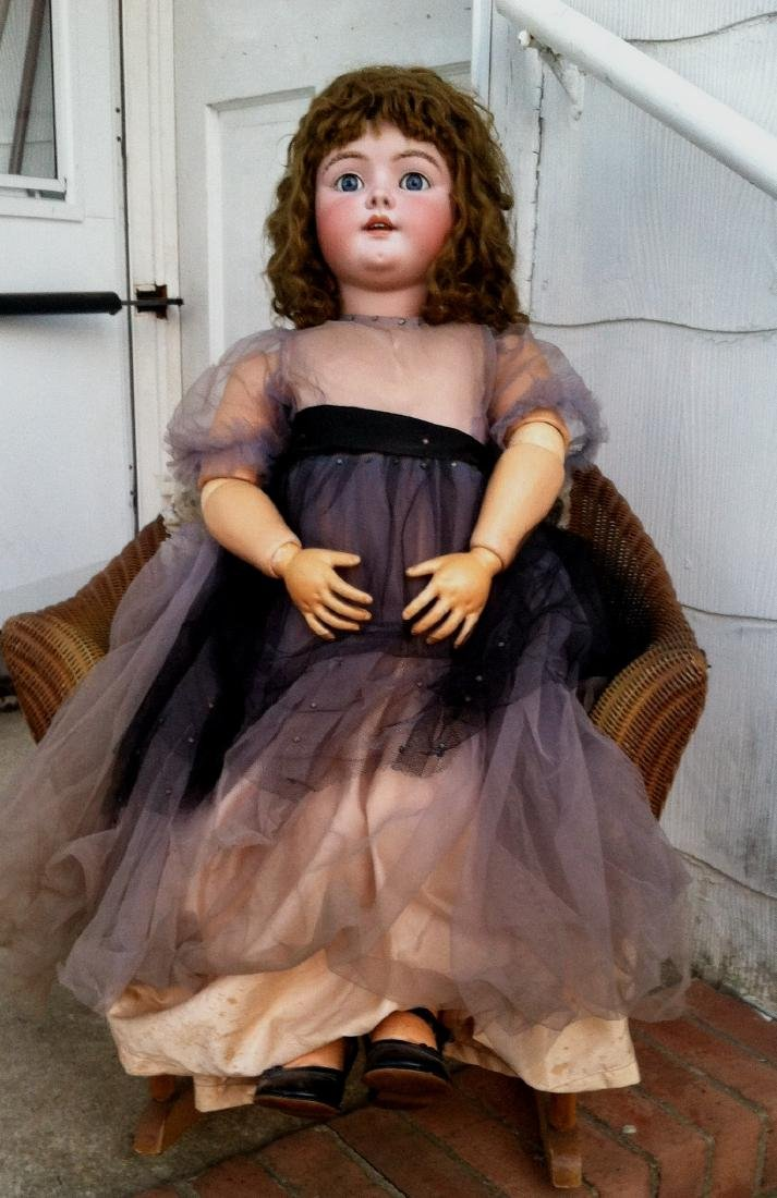 "Huge Bisque Head Doll Only Marked Handwerck 36"""