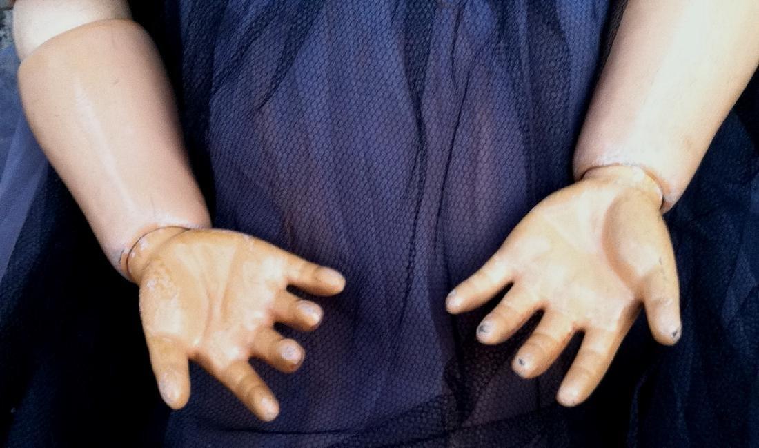 "Huge Bisque Head Doll Only Marked Handwerck 36"" - 4"