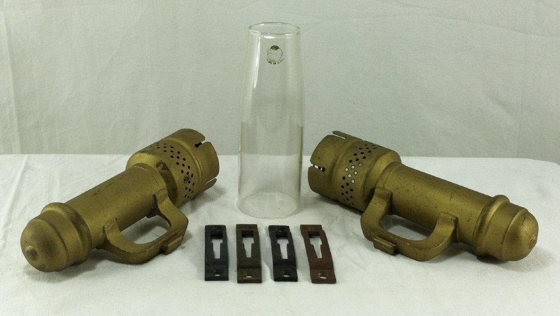 Pr. Of Antique Brass Candle Wall Mount Sconces