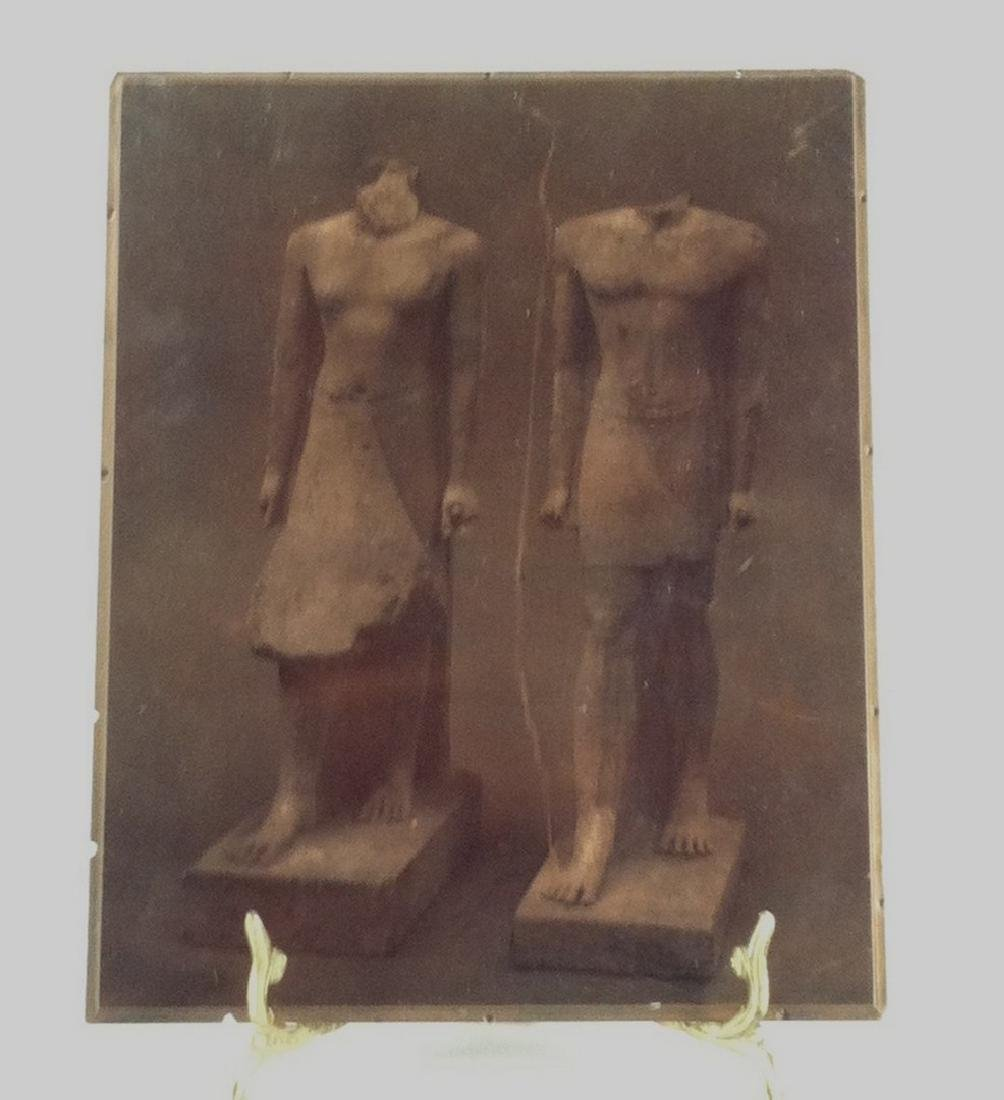 Antique Copper Printing Plate of 2 ancient statues
