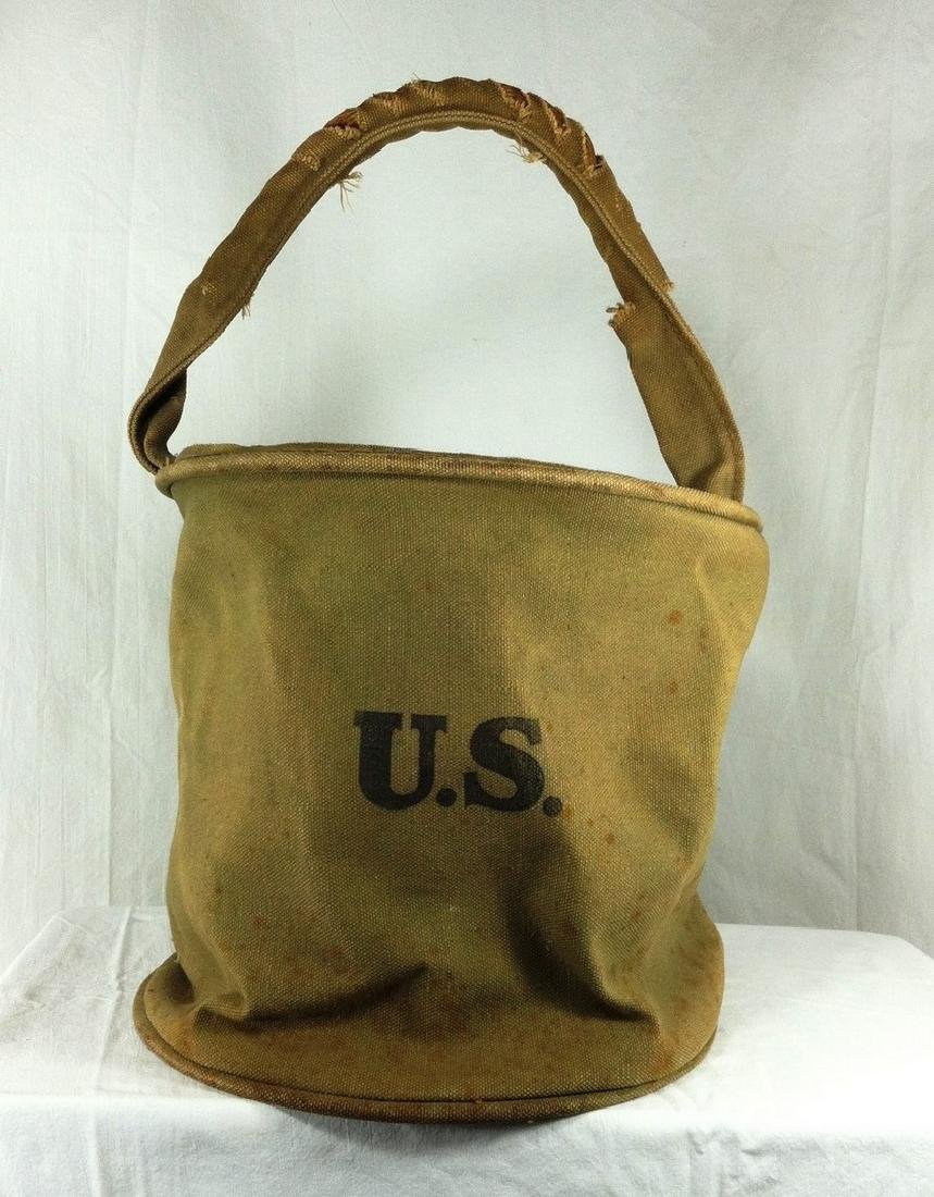 WW1 Era Collapsible Canvas Feed or Water Bucket
