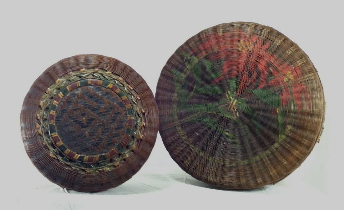 2 Pre WW2  Asian Japan Reed Bamboo Covered Baskets