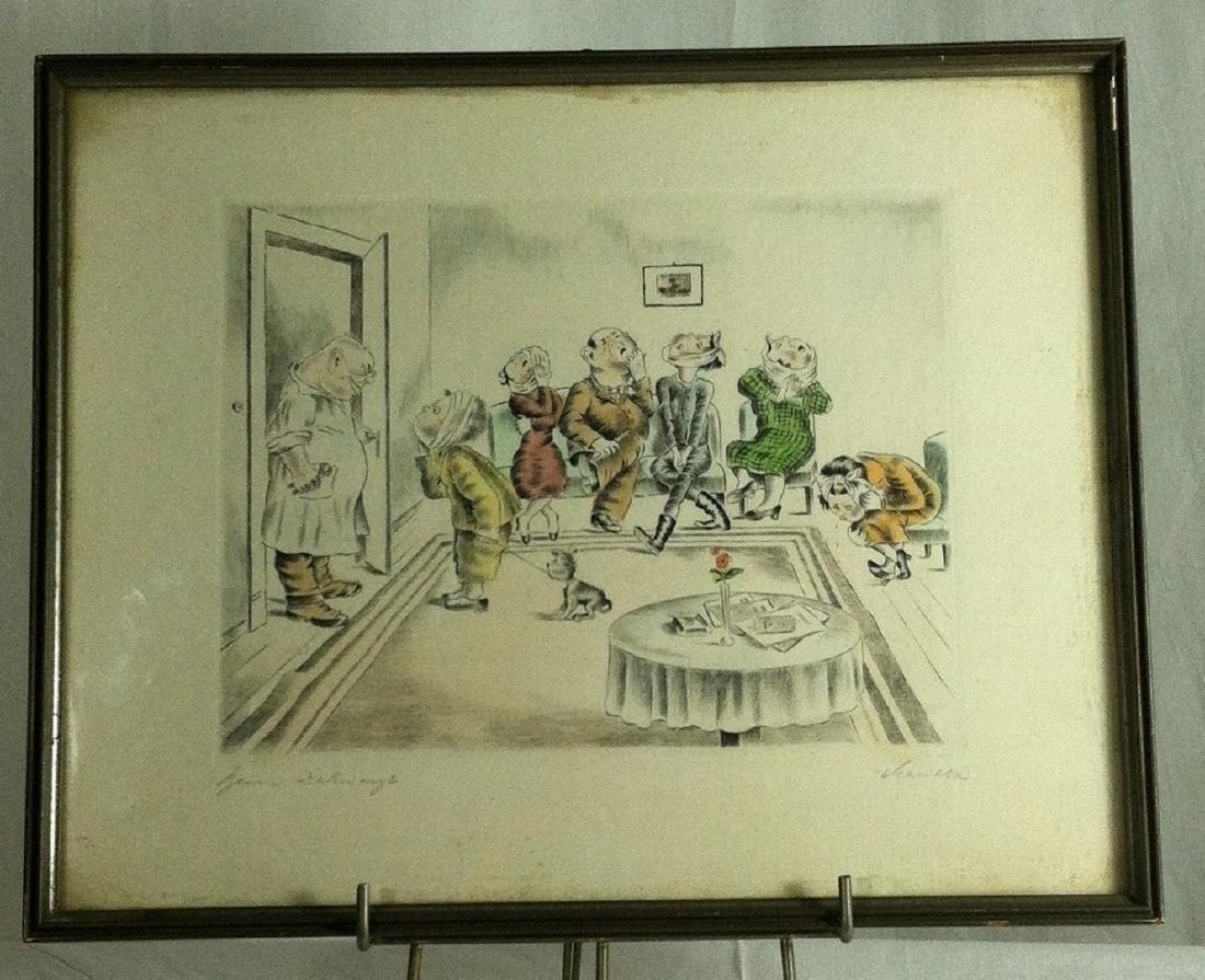 1920's/30's era Colored Engraving  German Dental Humor