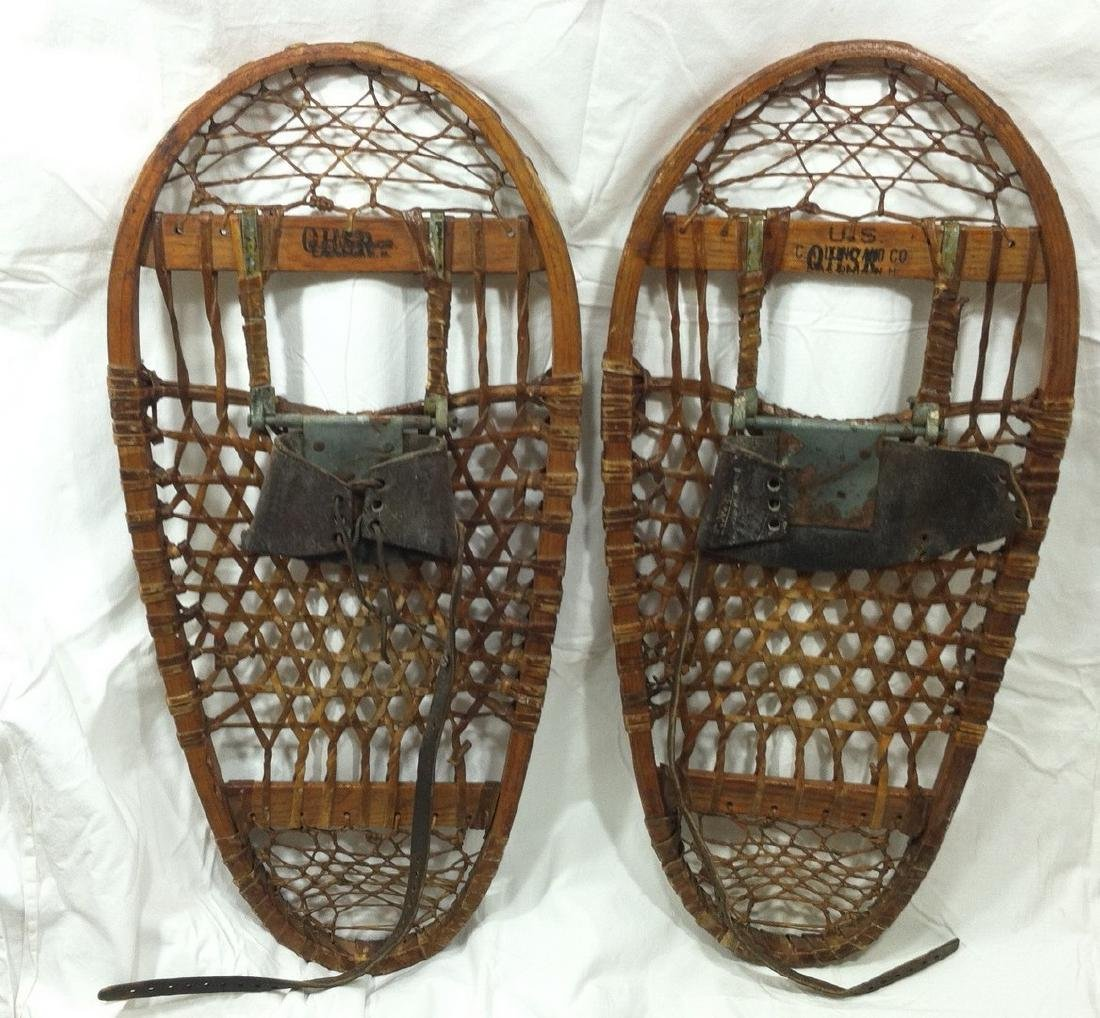 Antique Pr. Of Bearpaw Military Issue Snow Shoes