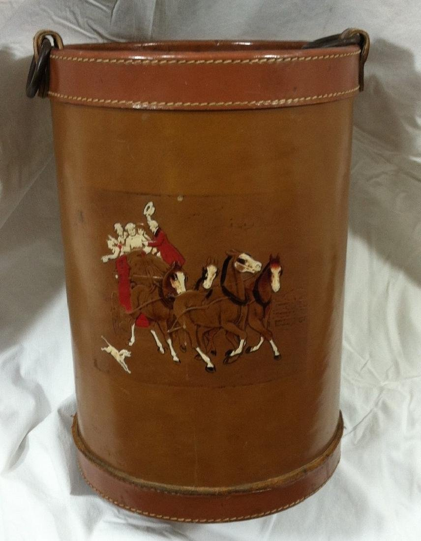 Vintage Fireside All Leather Kindling Bucket