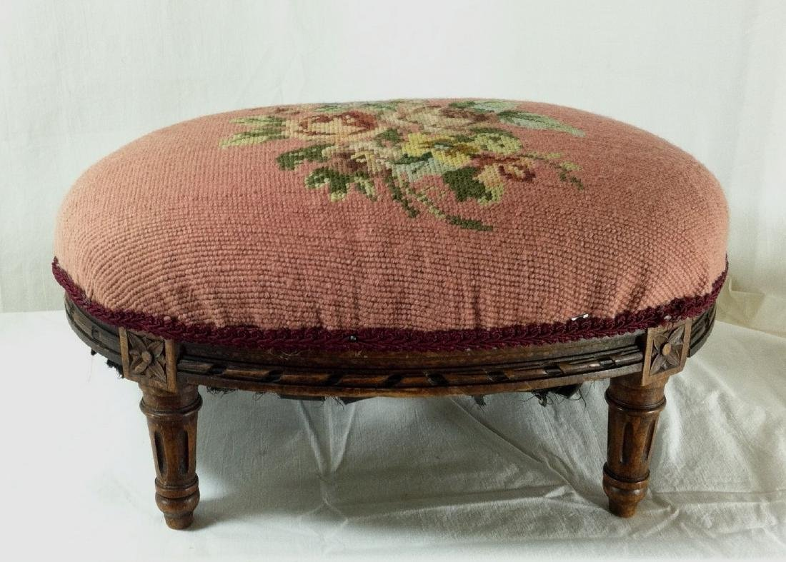 Small Antique Oval Oak Footstool w/ Needlepoint Cover