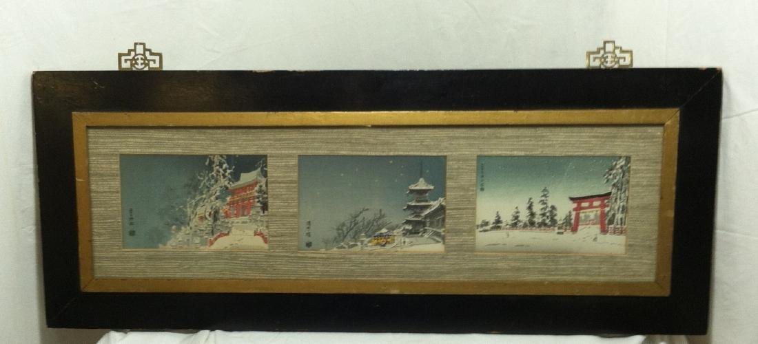Vintage Triptych Prints of Japanese Snow Scenes