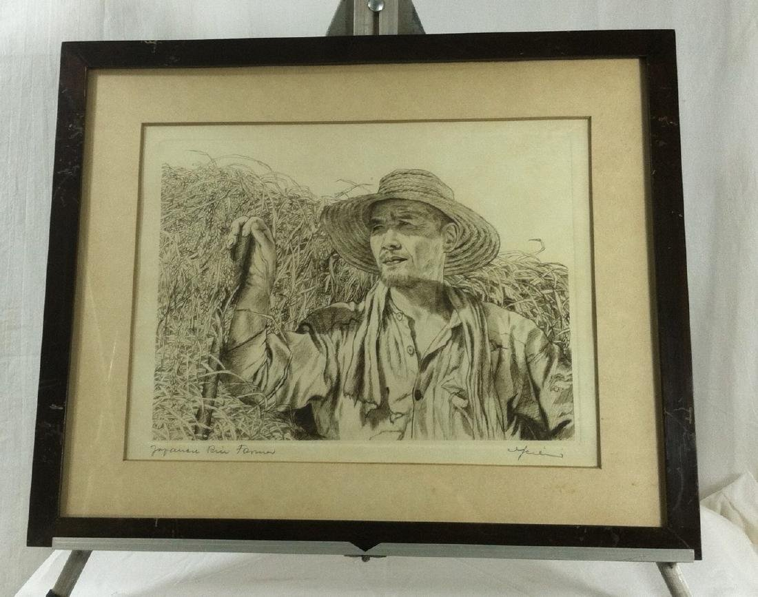 2 Etchings by Willy Seiler of Rural Japanese Life