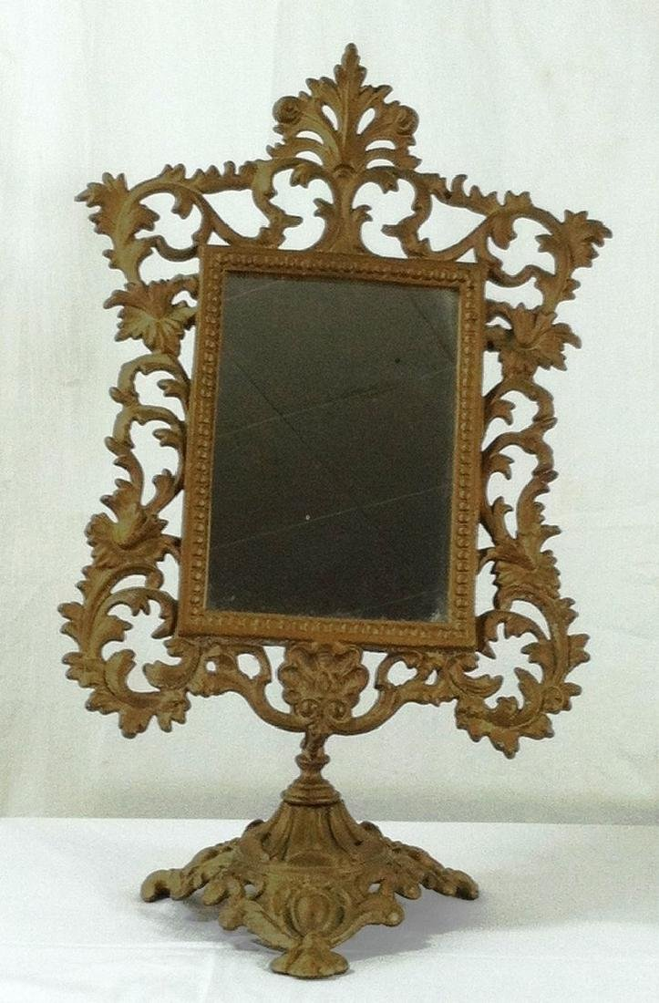 Fancy Victorian Style Cast Iron Vanity Mirror on Stand