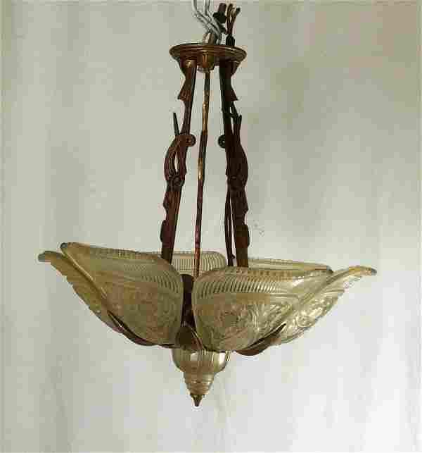 Art Deco 6 Slip-Shade Chandelier in Bronze Frame