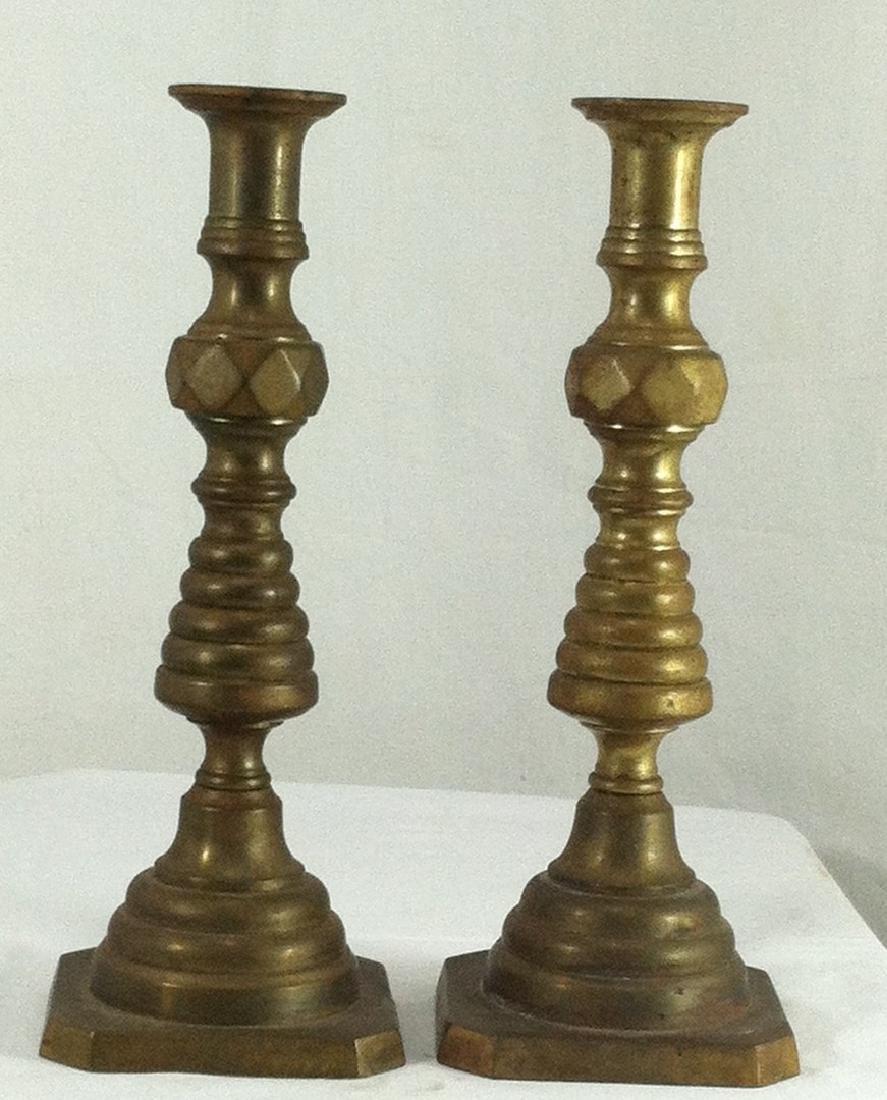 Pr. Of Antique Cast Bronze Candlesticks