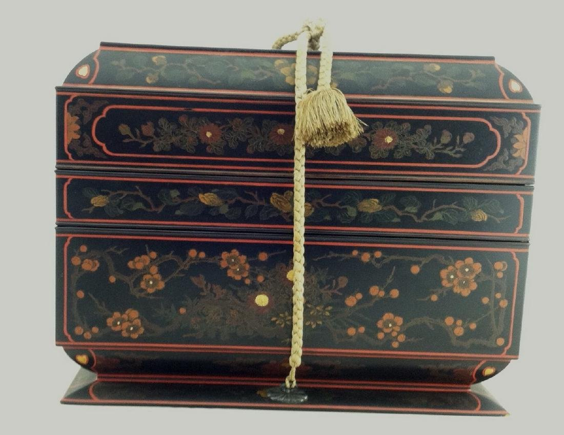 Japanese Casket Form 2 Section Writing Box Meiji