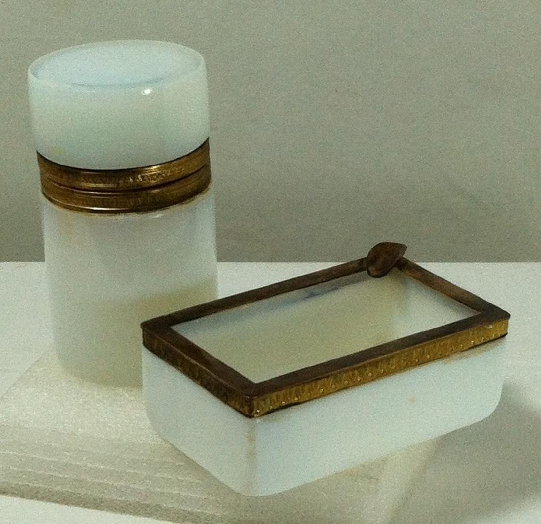 2 pc. Lot of White French Opaline Glass w/ Bronze