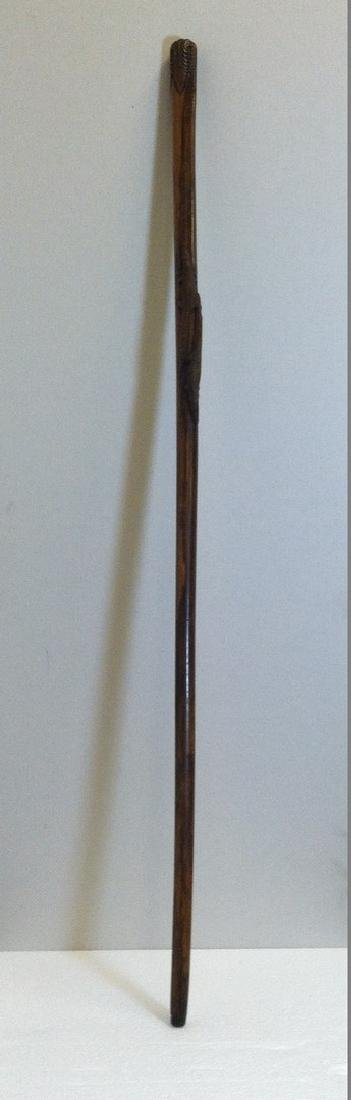 Old Carved Walking Stick w/ 2 Alligators