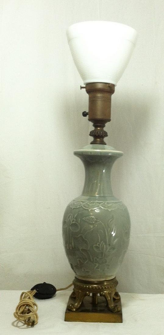 Chinese Green Celadon Table Lamp