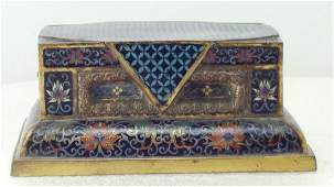 Bronze and Cloisonne Casket Paperweight