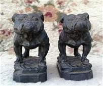 Pr. Antique Lead Bulldog Figures Hoyt Metal