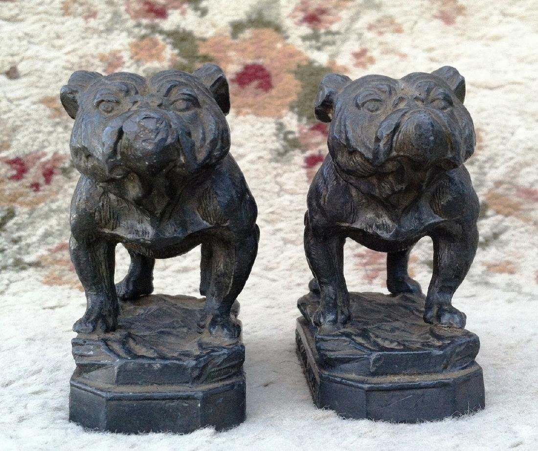 Pr. Antique Lead Bulldog Figures Hoyt Metal