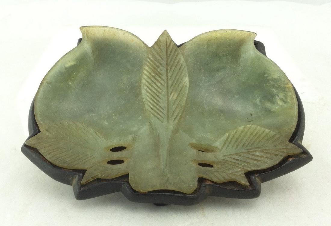 Carved Green Jade Double Leaf Tray w/ Wood Base