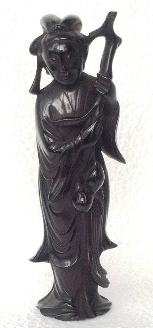 Dark Cherry Amber Figurine of a Chinese Woman