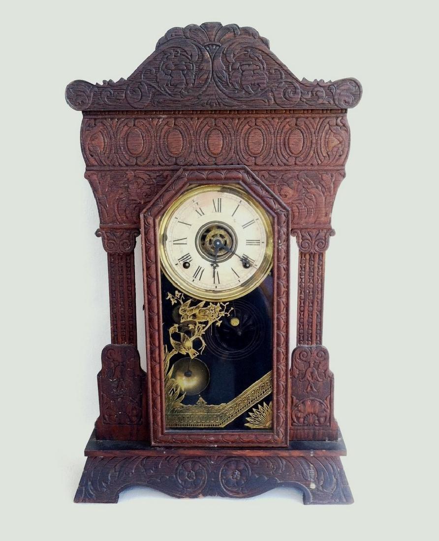 Antique Oak Shelf Clock Gilbert Steamer No. 48