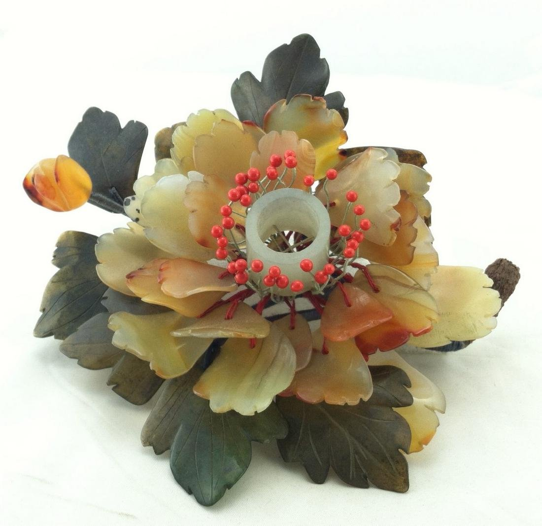 Asian Jade Lotus Flower Chamberstick