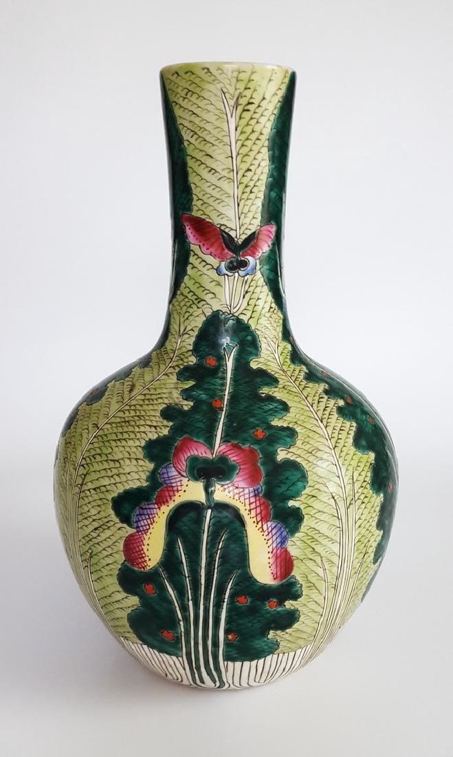"""Chinese Famille Verte Bottle Vase 17"""""""