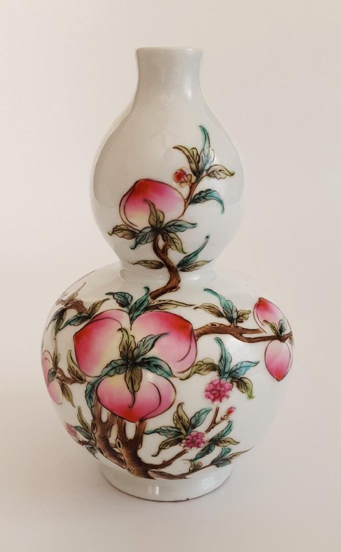 Chinese Double Gourd Peach Vase