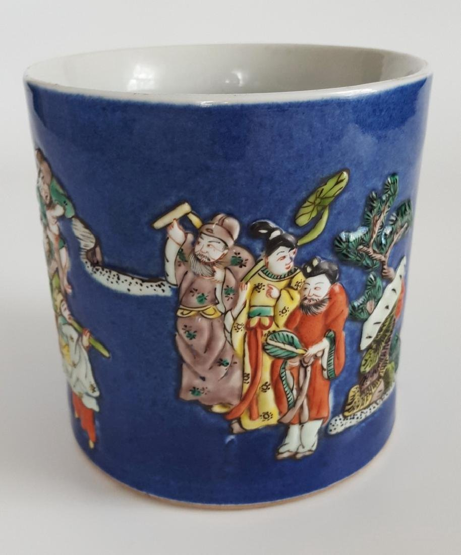 Chinese Large Brush Pot with 8 Immortals