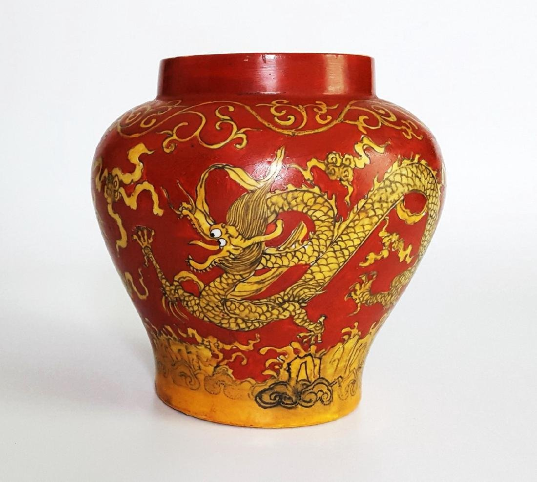 Chinese Red Dragon Jar Vase