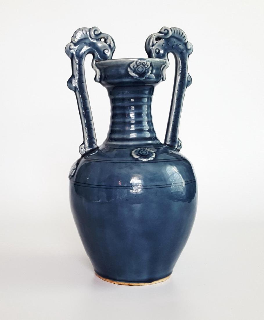 Chinese Double-Dragon Amphora Vase 14""