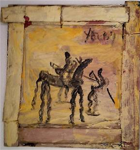 """Purvis Young """"Warrior Yellow Wood """" Original painting"""