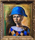 "Pablo Picasso (Attrib)""Harlequin"" Oil on canvas."