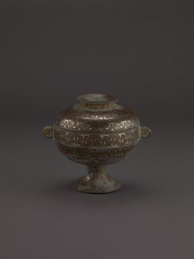 A RARE BRONZE COVERED VESSEL, DOU WITH GOLD INLAY