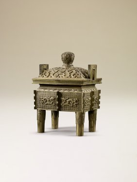 AN IMPERIAL BRONZE DRAGON SQUARE CENSER WITH COVER